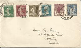 1923-26 - TRES BEL AFFRANCHISSEMENT Sur Lettre Pour L'Angleterre - France