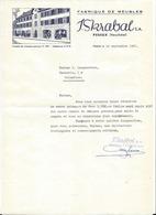 F117 - Peseux Skrabal Fabrique De Meubles Lettre Et Factures 1961-1962 - Suisse