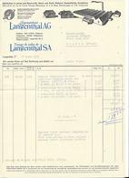 F118 - Langenthal Leinenweberei Tissage De Toiles 1951 1952 2 Factures - Suisse