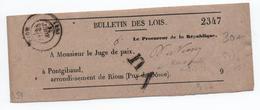 1876 - BANDE JOURNAL BULLETIN DES LOIS De RIOM (PUY DE DOME) Pour PONTGIBAUD - Postmark Collection (Covers)