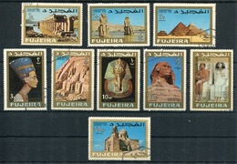 STAMP CENTENARY EXHIBITION CAIRO 1966 EGYPT. FUJEIRA AÑO 1970 MICHEL 128 / 136 OBLITERES COMPLETE SERIE - LILHU - Fudschaira