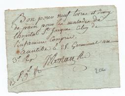 AN 3 - BON POUR NEUF LIVRES...DE PAIN POUR LES MALADES DE L'HOPITAL SAINT JACQUES à ANTIBES (ALPES MARITIMES) - 1701-1800: Precursors XVIII