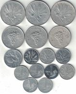 Italy Collection Of 16 Coins 1948-1969 All Listed & Different - Italie