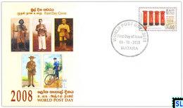 Sri Lanka Stamps, World Post Day 2008, Postbox, Postman, FDC - Post