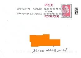 Post Réponse Marianne L'engagée Prioritaire Détourné Toshiba - Postwaardestukken