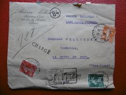LETTRE CHARGE CACHET PARIS RUE BALLU SEMEUSE TRICOLORE VIA LA ROCHE DE RAME 1909 - Postmark Collection (Covers)