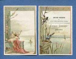 ITALIE ARONA Antico Negozio Carlo Gnemmi  Chromo Calendrier 1892 Angelot Oiseaux - Kalenders