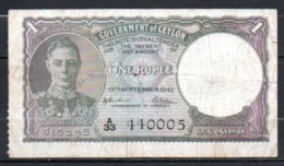 329-Ceylan Billet De 1 Rupee 1942 A33 Avec Contremarque Au Dos - Sri Lanka