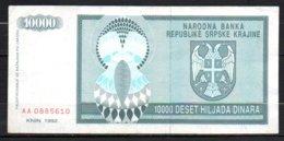 329-Croatie Billet De 10 000 Dinara 1992 AA088 - Croatia