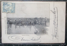 Thailande Siam Natives Fishing Cpa Timbrée Siam 1905 - Thaïland