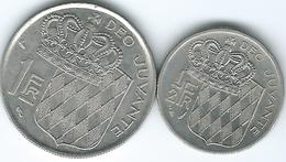 Monaco - 1974 - ½ Franc - Rainier III (KM145) & 1960 - 1 Franc (KM140) - Monaco