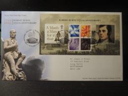 GB 2009 FDC - MS Robert Burns Tallents Postmark  Literature Personalities Dragon Thistle - FDC