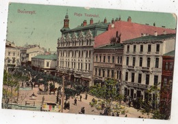 ROUMANIE BUCAREST (BUCURESTI) PIAFA TEATRULUI  (CARTE GLACEE ET COLORISEE) - Roumanie