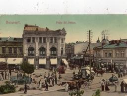 ROUMANIE BUCAREST (BUCURESTI) PIAFA SF. ANTON   (CARTE GLACEE ET COLORISEE) - Romania