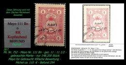 EARLY OTTOMAN SPECIALIZED FOR SPECIALIST, SEE...Mi. Nr. 752 - Mayo 111 Bn - Kopfstehender Aufdruck - 1920-21 Anatolie