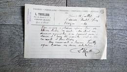 Facture Document  Thuillier Faience Porcelaine Rue Du Havre Yvetot 1924 - Francia