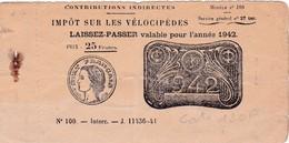 T.F Vélocipèdes Laissez-Passer Carton 1942 - Revenue Stamps