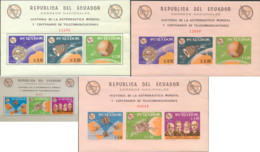 Ref. 275304 * NEW *  - ECUADOR . 1966. HISTORIA DE LA ASTRONAUTICA MUNDIAL Y CENTENARIO DE LAS TELECOMUNICACIONES - Ecuador