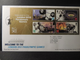GB 2012 FDC - MS Welcome To Paralympic Games Tallents Postmark  Olympics Disabled Stadium Sport Cycling Big Ben - 1945-.... 2nd Republic