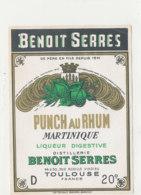 1036 / ETIQUETTE DE RHUM -   PUNCH  AU RHUM  MARTINIQUE  BENOIT SERRES  TOULOUSE - Rhum