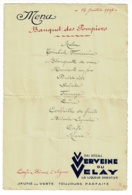 """Menu Publicitaire """"Vervaine Du Velay""""(Banquet Des Pompiers) Café Bènas à Leynes Ft 160 X 240 Mm Ouvert - 14 Juillet 1947 - Menus"""