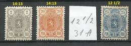 FINLAND FINNLAND 1889/90 Michel 27 A & 30 B & 31 A * - 1856-1917 Administration Russe