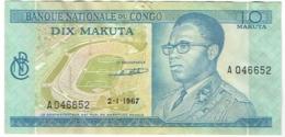 Billet. Banque Du Congo. 10 Makuta. 2-1-1967. - Congo