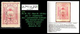EARLY OTTOMAN SPECIALIZED FOR SPECIALIST, SEE...Mi. Nr. 752 - Mayo 109 Bvu - Aufdruck QUER !! -RRR- - 1920-21 Anatolie