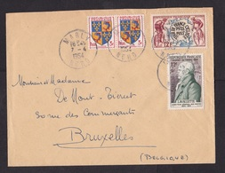 France: Cover To Belgium, 1954, 4 Stamps, Tour De France, Cycling, Bike Race, Biking Sports, Lavalette (roughly Opened) - Briefe U. Dokumente