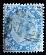 MALTE Queen Victoria 2 Timbres 1 Avec Surcarge One Penny Oblitérés - Malte (...-1964)