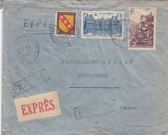 LETTRE  EXPRES. 1947. 25,50Fr.  PARIS LA BOETIE POUR CHATEAUROUX  /  4 - Poststempel (Briefe)