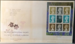 GB Booklet Pane  2004 FDC - Royal Horticultural Society Wisley Postmark FIRST DAY COVER FLOWERS INSTITUTIONS - 2001-2010 Em. Décimales
