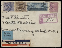 USA - Prexies. 1940 (9 May). Charlestown / W Virginia - France. Reg Air Multifkd Env. 50c Lilac + 75c Total Rate. VF. - United States