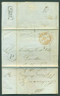 FINLAND. 1850 (3 May). Nyborg / Wiborg - UK. Stampless EL Displays Great Boxed Ds + P + Red London Paid. VF Mns Postage - Finland