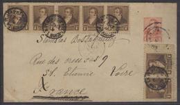 Argentina - Stationery. 1893 (27 Jan). La Plata - France (28 Feb). 5c Red Stat Env + 7 Adtls In Multiples Incl Strip Of - Argentina