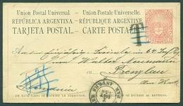 BELGIUM. 1880 (2 Aug). Maritime Belgian Mail. Argentina - Germany / Prenzlau. 6c Red Stat Card With Outremer / Par Anver - Belgium