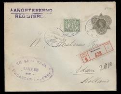 DUTCH INDIES. 1919 (17 Sept). Macassar - Netherlands (31 Oct). Reg 20c Brown Olive Stat Env + 2 1/2c Adtls / Cds. VF. - Netherlands Indies