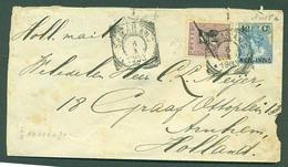 DUTCH INDIES. 1903 (6 April). Semarang - Netherlands. 12c Blue Ovptd Stat Env + Adtl 2 1/2 Ovptd / Cds. Unusual Comb. - Netherlands Indies