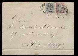 DENMARK. 1882 (Sept). Kopenhagen - Germany (13 Sept). Env Fkd 20o X2 Diff Issues (blue + Red + Grey Dark) Cds Unusual Mi - Denmark