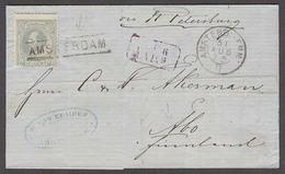 NETHERLANDS. 1875 (31 Aug). Amsterdam - Finland. EL Fkd Single 12 1/2c Grey Stline Amsterdam Cachet. Via Rusia. Fine. - Paesi Bassi