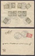 "HOLYLAND. 1912 (6 May). Turkish PO - Jerusalem - Jaffa. Bilingual Arab ""1"" Blue Cachet. Fkd Env 11 Stamps Rate 40 Paras. - Palestine"