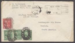 USA - Prexies. 1940 (30 July). Jamaica / NY - Bolivia. Multifkd Env 5c Rate With NY World Fair Slogan Cancel. VF + Dest. - United States