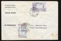 KOREA. 1964 (11 June). Waekwan - Germany. Missionary Env Unesco Fkd / Cds Fine. PM Rate. - Korea (...-1945)