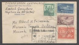 CUBA. 1947 (3 Nov). Habana / Estacion Terminal - USA. Reg Multifkd Airmail Env. Via Miami (4 Nov). VF. - Non Classés