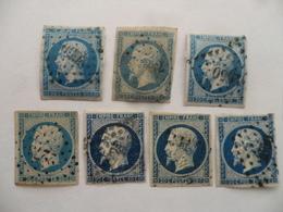 """(France - 1853 +++)  -  Napoléon III   - Lot De 7 Timbres """"20 C   Bleu""""    (Y & T.  N° 14 A Et 14B)...........voir Scans - 1853-1860 Napoleon III"""