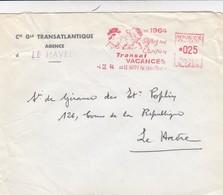 LETTRE. 1964.  EMA. 025Fr  C° GENERALE TRANSATLANTIQUE  LE HAVRE. OFFREZ UNE CROISIERE TRANSAT VACANCES /  4 - Marcophilie (Lettres)