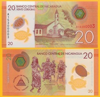 Nicaragua 20 Cordobas P-210 2014 UNC Polymer Banknote - Nicaragua