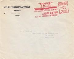 LETTRE. 1965.  EMA.  025Fr  C° GENERALE TRANSATLANTIQUE  MARSEILLE. FRANCE LE PLUS LONG PAQUEBOT DU MONDE NEW YORK  /  4 - Marcophilie (Lettres)