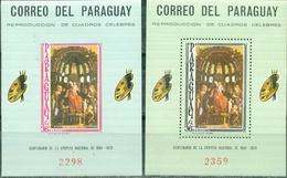 Paraguay, 1966, Painting, Montegna,  2 Blocks - Madonna