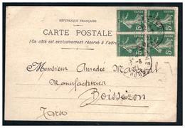 Semeuse N° 137 En Bloc De 4 Sur CP De CARCASONNE Pour PARIS Du 12.8.21. - France